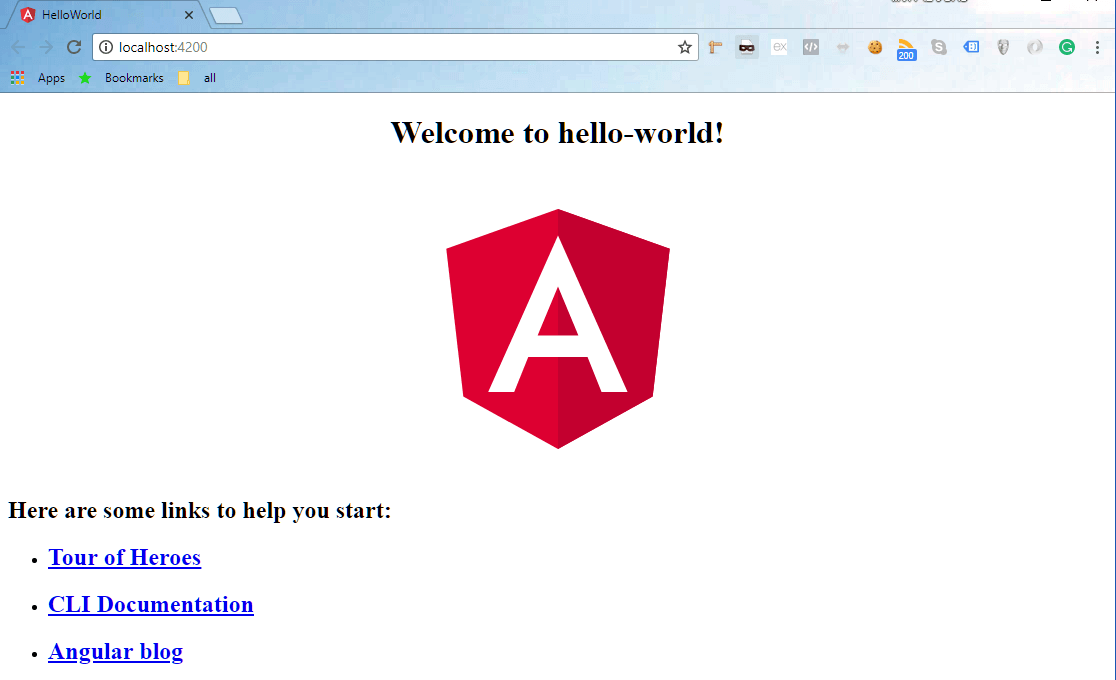 First look at a page that was created by an Angular app